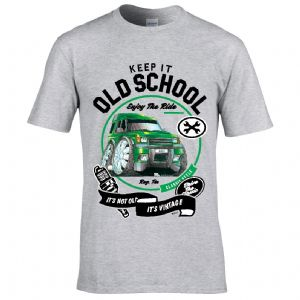 Premium Koolart KEEP IT OLD SCHOOL & Discovery 1/2 TD4 TD5  car image mens t-shirt gift